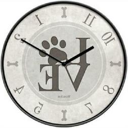 """Westclox 10"""" Round Dog Lover Wall Clock Battery Operated Paw"""
