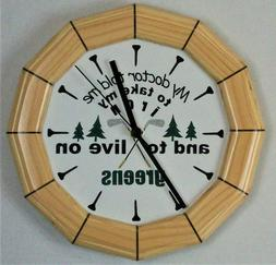 11 inch Pine Golf Themed Wall Clock Silent Sweep Second Hand