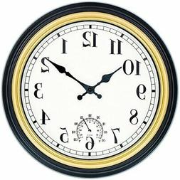 12-Inch Indoor/Outdoor Retro Wall Clock with Thermometer
