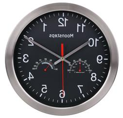 """12"""" Modern Indoor/Outdoor Wall Clock With Temperature and Hu"""