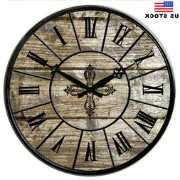 Large Wooden Wall Clocks 15 in Room Home Silent Decor Retro