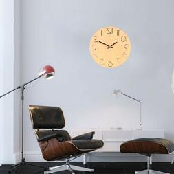 1pc Wooden Wall Clock Round Simple Decorative Wall Clock for