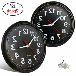 2 Pack, Black Wall Clock, 12 Inch Silent Battery Operated No