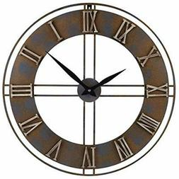 23.6-Inch Wall Clocks Oversized Rustic Metal Silent Non-Tick