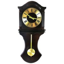 """Bedford 27.5"""" Chocolate Brown Oak Grandfather Wall Clock wit"""
