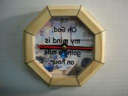5 inch Pine Frame Desk Clock Silent Sweep Second Hand