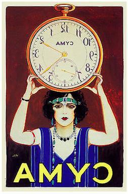 6471.Cyma.Woman holding large clock over her head.POSTER.art