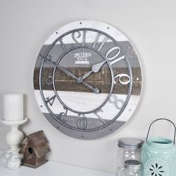 FirsTime 99687 Shabby Wood Wall Clock, Gray