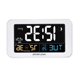 AcuRite Intelli-Time Alarm Clock with USB Charger, Indoor Te