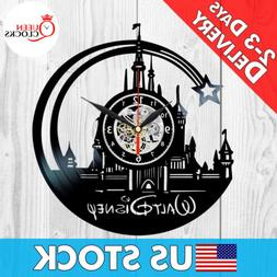 Disney World Theme Castle Logo Vinyl Record Wall Clock Princ