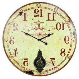 "Large 23"" Wall Clock with Pendulum ~ Antique French Provinci"