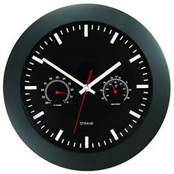 Timekeeper Round Wallclock with Black Frame and Temperature/