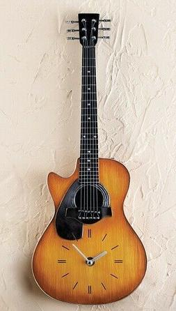 Acoustic Style Guitar Shaped Clock Wall Hanging Music Lover