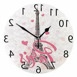 ALAZA Pink Paris with Love Round Acrylic Wall Clock Silent N