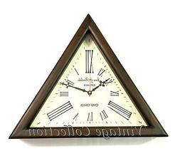 Antique Nautical Triangle Shape Wooden Wall Clock Roman Numb