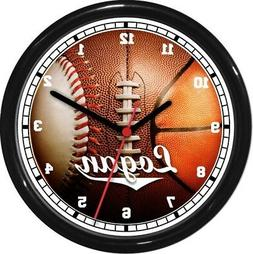Ball For All Seasons Personalized Wall Clock Rec Room Garage