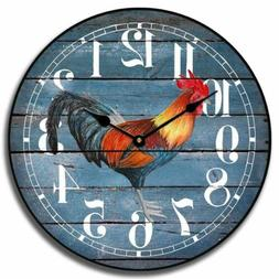 Barnwood Blue Rooster Non Ticking Wall Clocks Battery Operat