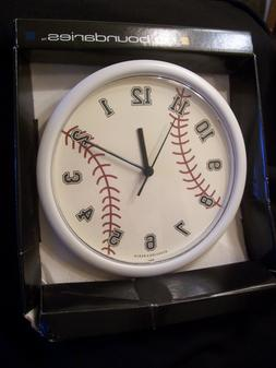 """Baseball wall Clock 10"""" For Childs Room by Sterling & Noble,"""
