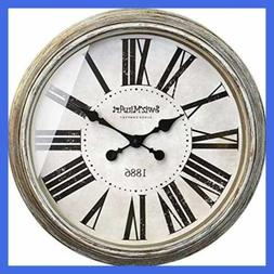 "Basic Wall Clock 30"" Huge Round Rustic Decorative Retro Meta"