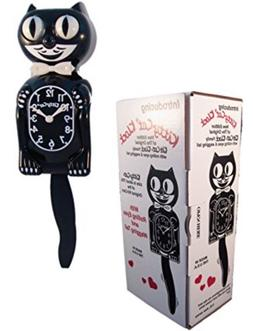 """BLACK KITTY CAT CLOCK  12.75"""" Free Battery MADE IN USA Kit-C"""