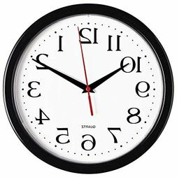 Black Wall Clock, Easy to Read Home/Office/Classroom/School