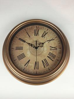 Burnished Gold Tone Silent Roman Wall Clock Battery Operated
