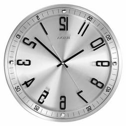 Bulova C4646 Silhouette Clock, Brushed Stainless Steel Finis