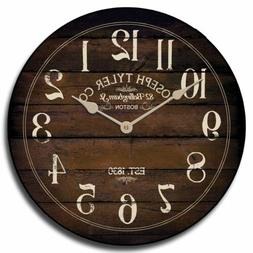 Chestnut Brown  Silent Wall Clock  Battery Operated Whisper
