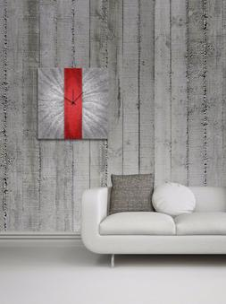 Metal Art Studio Clock Contemporary Decor, Large, Red Stripe
