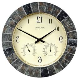 Clock Indoor Outdoor Slate Thermometer Hygrometer Stone Pati
