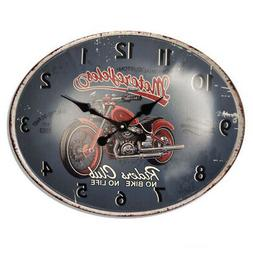 Clocks Country Vintage Wall RIDERS CLUB MOTORCYCLE OVAL Cloc