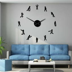 Cricket Player Sportsman Silhouette DIY Giant Wall Clock Sil