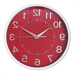 "Decor Silent Wall Clocks 10"" 3D Numbers Red Dial Non-ticking"