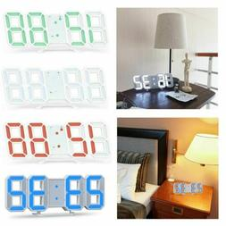 Digital 3D LED Wall Clock Alarm Modern Clock Snooze 12/24 Ho
