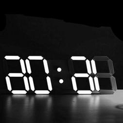 Modern Digital 3D White LED Wall Clock Alarm Clock Snooze 12