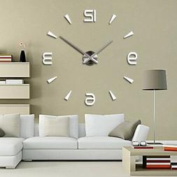 DIY 3D Large Number Mirror Wall Watch Wall Clock  Home Decor