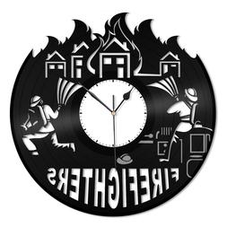 Firefighters Vinyl Wall Clock Fire Fighting Theme Unique Gif