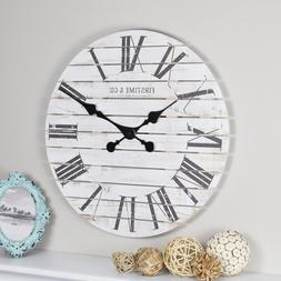 FirsTime  Co. Shiplap Farmhouse Wall Clock, American Crafted