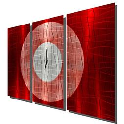 Large Hand-Crafted Modern Red and Silver Metal Wall Clock -