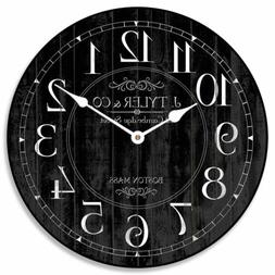 Harbor Black Wall Clock Ultra Quiet  Battery Operated  ticki