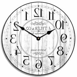 Harbor White Wall Clock, large wall clock, Ultra Quiet, 8 si