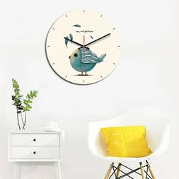 Home Cartoon Wooden Wall Clocks Round Shaped Wall Clocks for