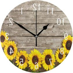 ALAZA Home Decor Sunflower on Retro Wooden 9.5 inch Round Ac