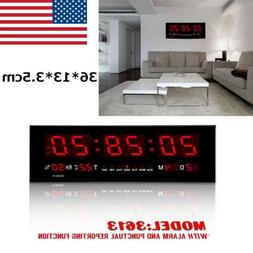 Hot Digital Large Big Digits LED Wall Desk Clock With Calend