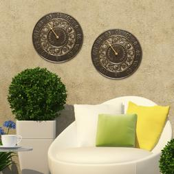 """Ivy 12"""" Indoor/Outdoor Wall Clock & Thermometer"""