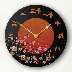 """Japan Cherry Blossoms with Rising Sun Kanji Numerals 12"""" Sil"""
