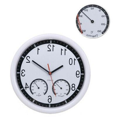 Silent Wall Clock Accurate Thermometer Humidity Indoor Outdo