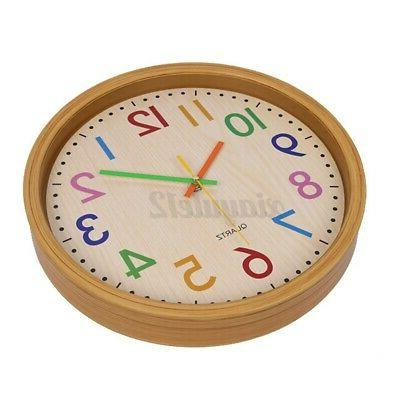 Non-Ticking Quartz Battery Operated Round Wood