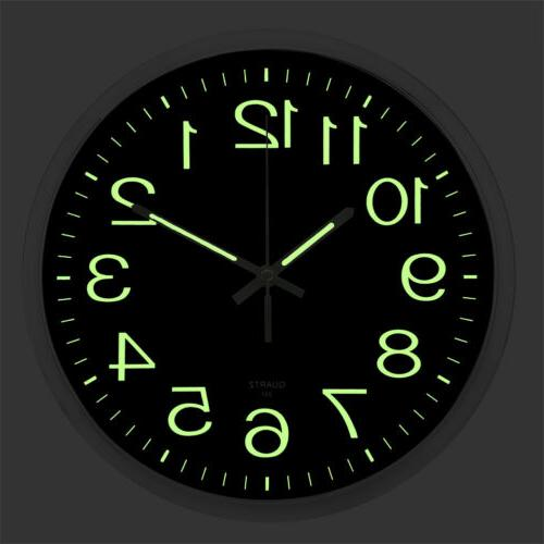 Wall Clock Glow In The Dark Silent Quartz Indoor Outdoor Lum