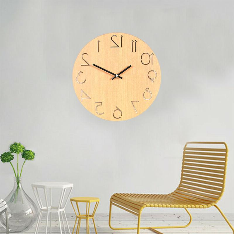 1pc Wooden Wall Clock Decorative Round Wall Clock for Bedroo